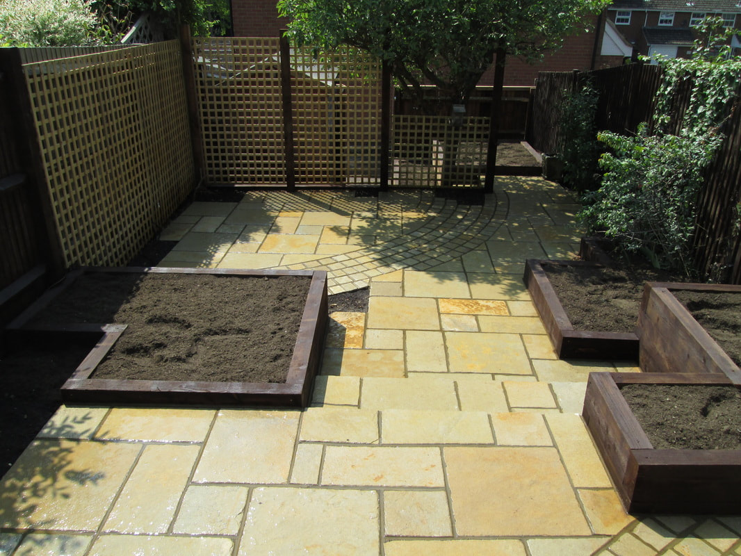 Modern garden paving with sandstone