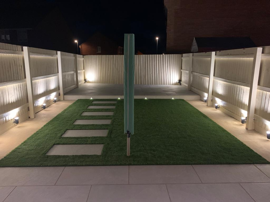 Modern porcelain paving with lighting