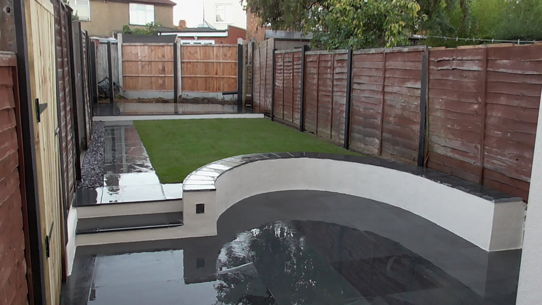 Modern garden patio with slate